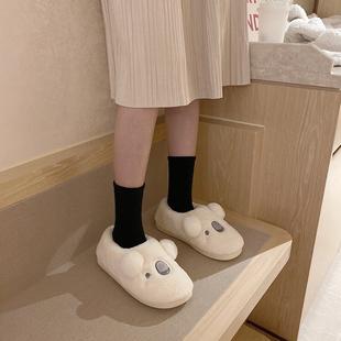 外穿冬季 可爱卡通ins居家防滑全包跟棉拖鞋 保暖毛绒棉拖鞋 韩版 女