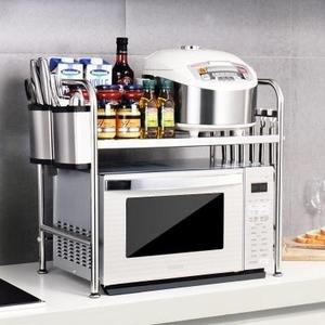 。烤箱台面层调料收纳物架不锈钢架落地厨房304置2微波炉双层架子