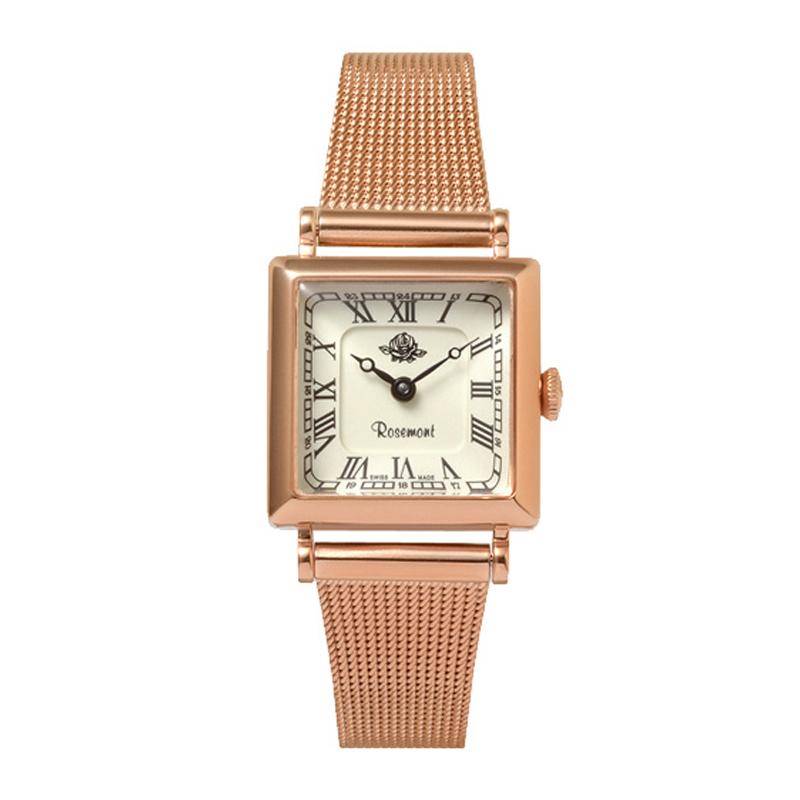 スイスRosemont女史腕時計レトロシリーズローズメタルクォーツ四角形の腕時計プレゼント