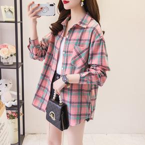 格子衬衫女2021年春装新款韩版宽松长袖磨毛复古港味学生宽松外套