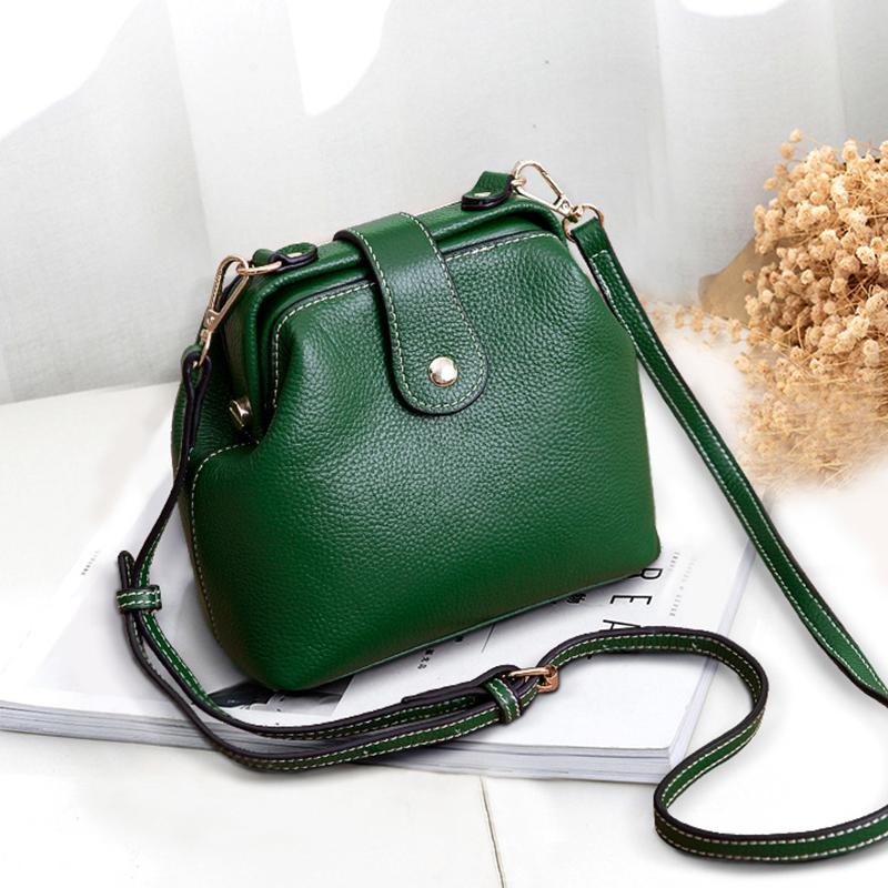 Head leather bag womens 2018 new fashion Mini doctor bag womens leather soft One Shoulder Messenger Bag