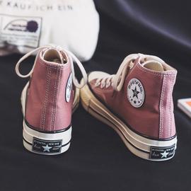潮鞋高帮帆布鞋女韩版百搭ulzzang2020年秋冬季新款加绒棉鞋板鞋图片