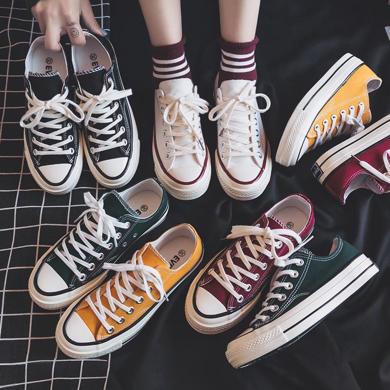 帆布鞋女鞋新款百搭韩版ulzzang2020春季学生小白板鞋薄款潮鞋夏图片