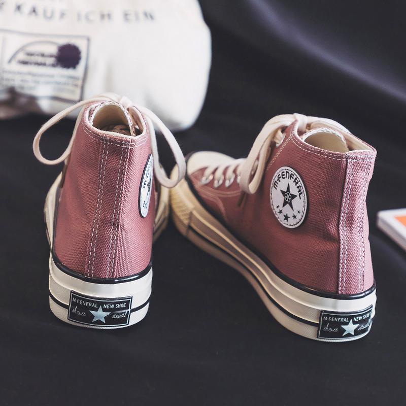 潮鞋高帮帆布鞋女鞋韩版百搭ulzzang新款2020年秋季布鞋小白板鞋