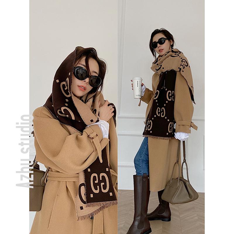 タオバオ仕入れ代行-ibuy99 长大衣女 AZHU 阿茱2021年新款双面呢大衣女全毛中长冬季大衣