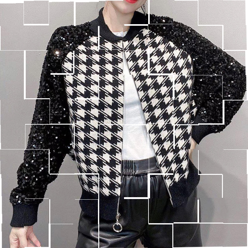 Sequin stitched leather jacket knitted small temperament loose small fragrance Jacket Womens jacket baseball cardigan.
