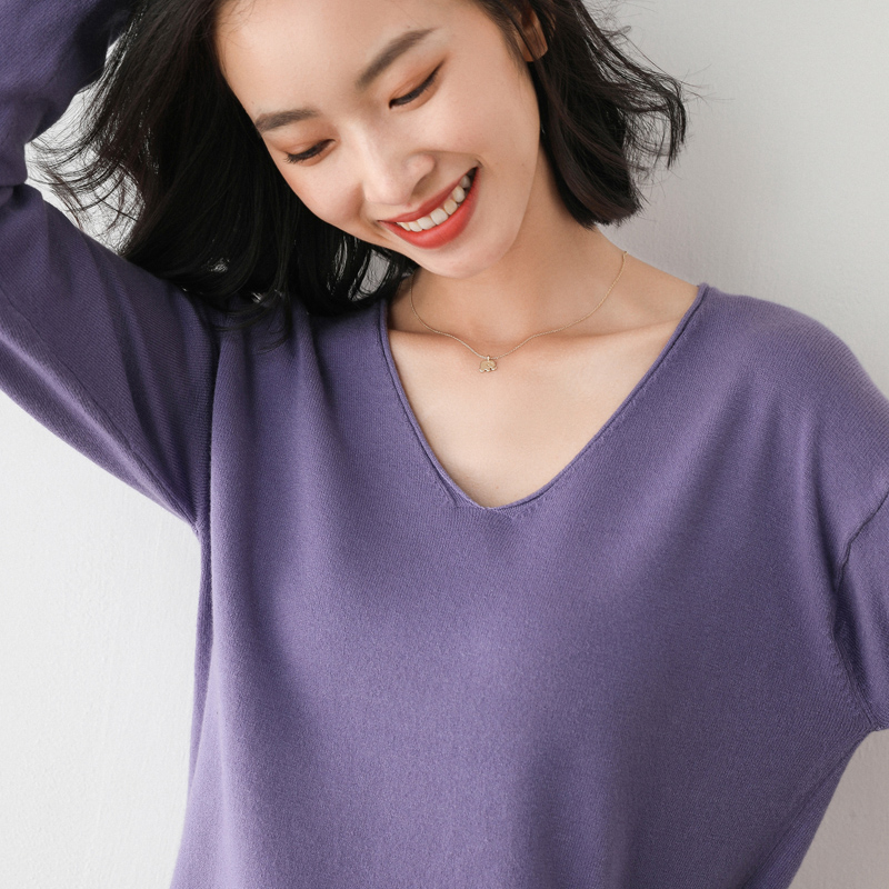 2020 spring and autumn thin sweater womens V-neck new loose long sleeve large size short sweater womens versatile bottoming shirt