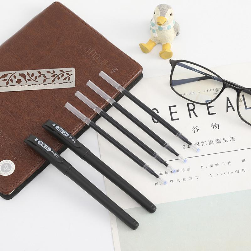 怡翠居黑色0.5mm中性笔E585子弹头笔尖水性笔考试笔5只装