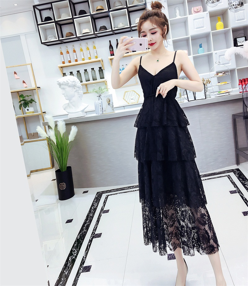Lace suspender dress summer 2020 new femininity sexy dress foreign fashion long dress super Fairy Dress