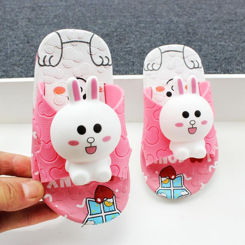 夏季男童女童凉拖鞋卡通小兔子居家浴室宝宝洗澡防滑儿童拖鞋软底