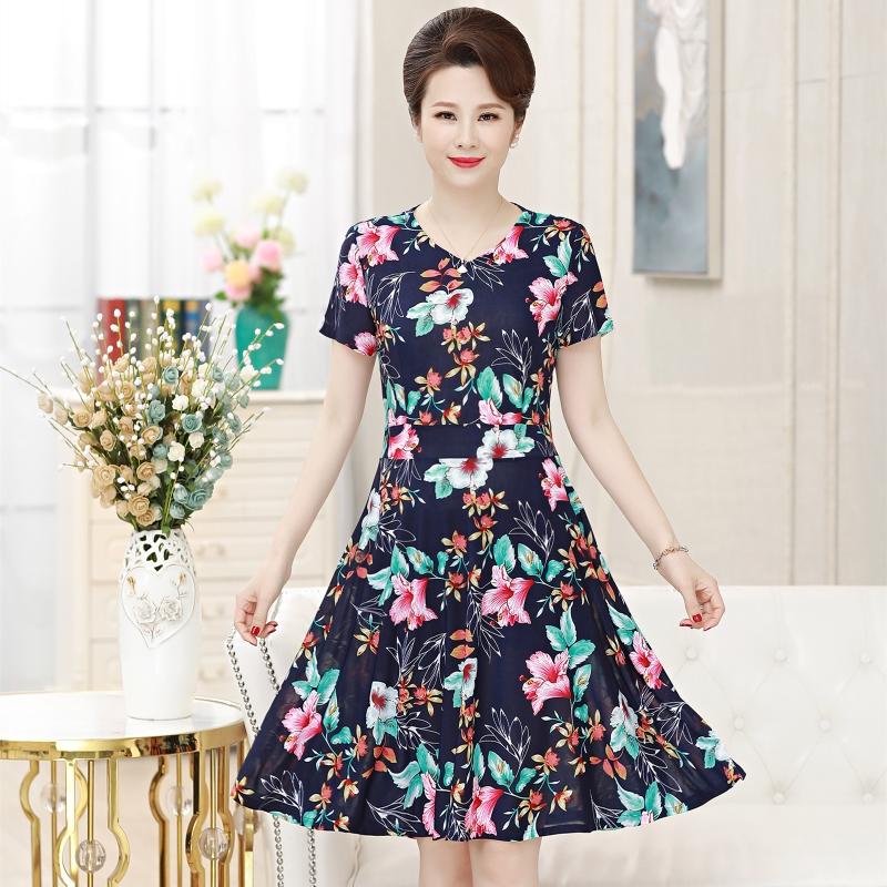 2019夏装新款连衣裙中长过膝短袖腰封简约知性妈妈装40岁50中老年