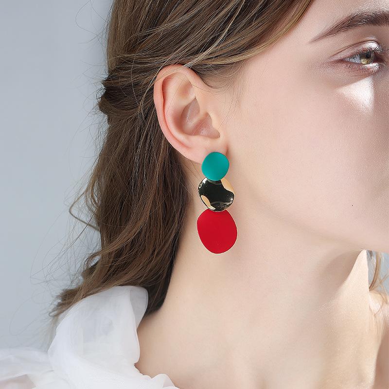 2020新款气质拼色几何耳环女925银针时尚夸张绚丽耳钉无耳洞耳夹