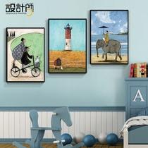 儿童房装饰画卧室床头房间墙面墙画创意卡通男生男孩女孩壁画挂画