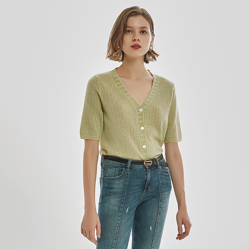 French new strawberry powder jam red cut out Avocado Green Spring and autumn thin wool short sleeve button cardigan