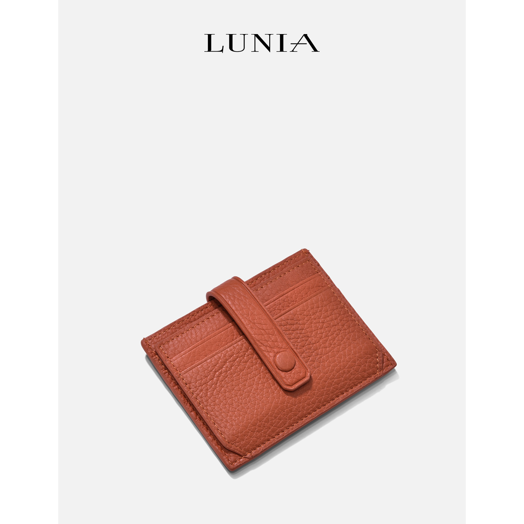 Luna leather ultra thin card bag women's South Korea multi card clip Mini Leather Case driver's license simple small certificate bag