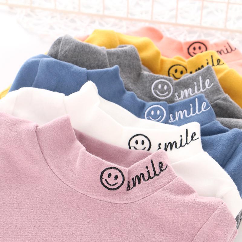 男童女童纯棉中领半高领打底衫 春秋款中小儿童装宝宝上衣长袖T恤图片