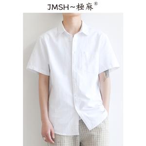 极麻日系牛津纺夏季短袖男士潮衬衫