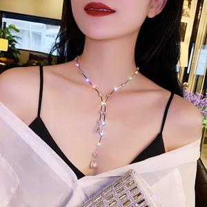 长款项链女锁骨链低胸韩国水钻轻奢小众颈圈网红个性颈带脖子饰品