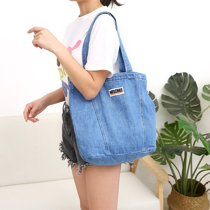 Cowboy bag direct sale canvas portable large capacity simple art bag girls one shoulder student bag bag