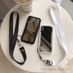 挂绳苹果xs max手机壳6s黑色7plus白色xr保护套8挂脖子简约镜子女11pro max带绳子se2代挂脖子