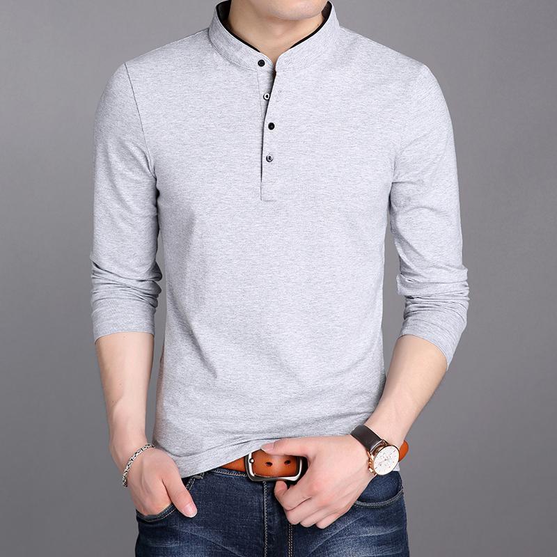 男士长袖t恤韩版潮流冬季polo衫休闲上衣男装青年纯色加绒卫衣男