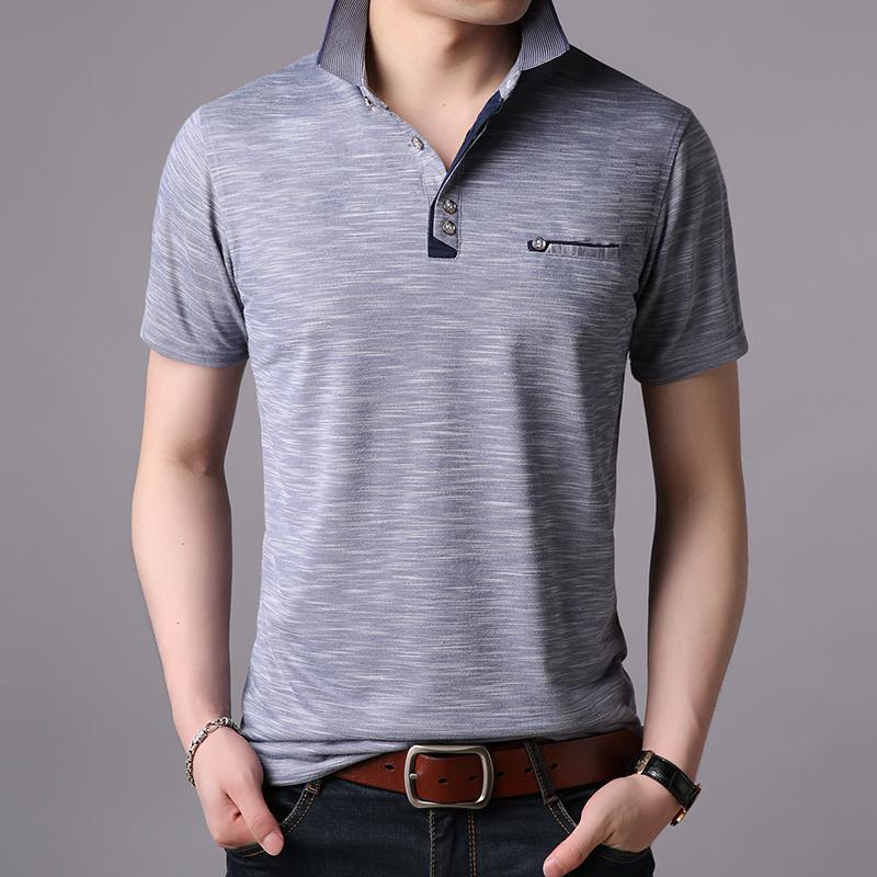 2018夏季新款薄款短袖T恤条纹男士立领半袖休闲潮流修身t恤polo衫