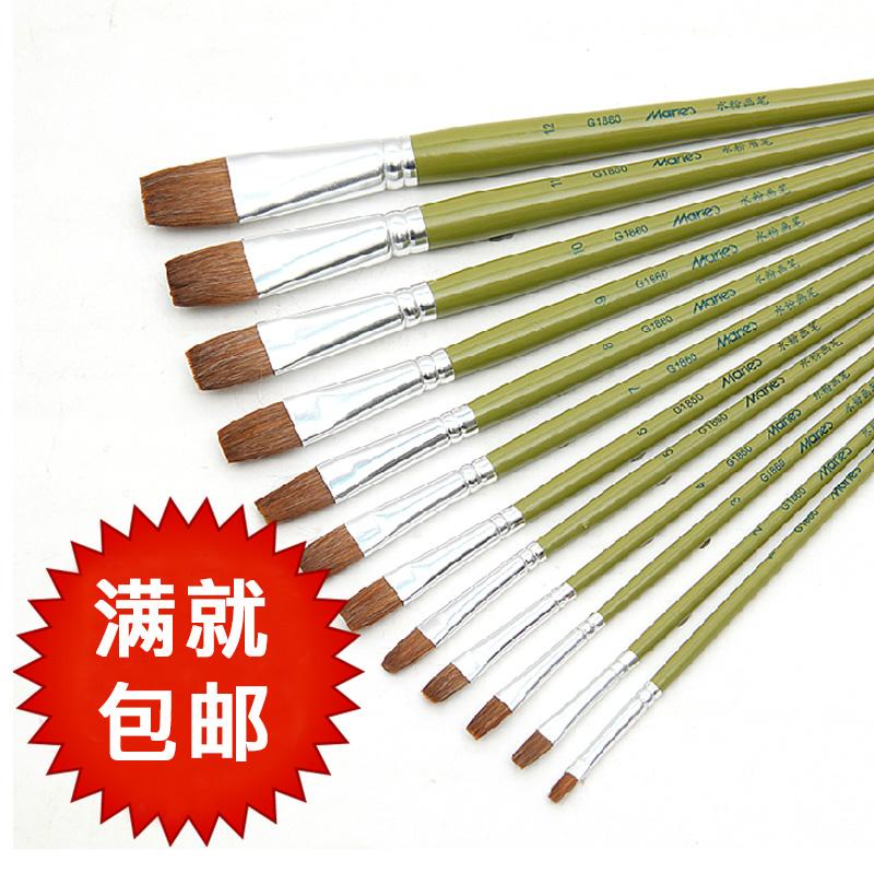 满5支包邮 马利狼毫水粉画笔1860平头水粉画笔刷 丙烯油画笔 单支