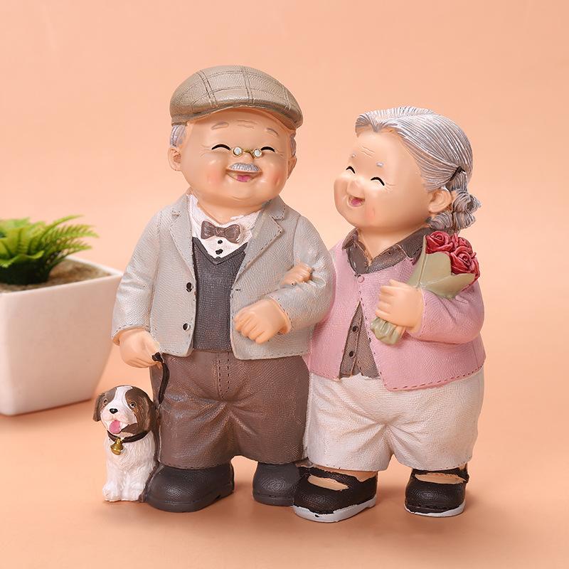 卧室家居老头老太太摆件军恋白头偕老金婚祝寿情人周年纪念日礼物