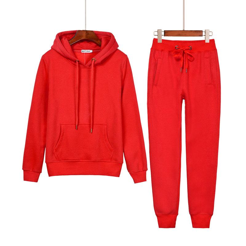 2019春秋薄款套头女卫衣休闲运动套装大红色两件套加绒百搭连帽衫(用5元券)