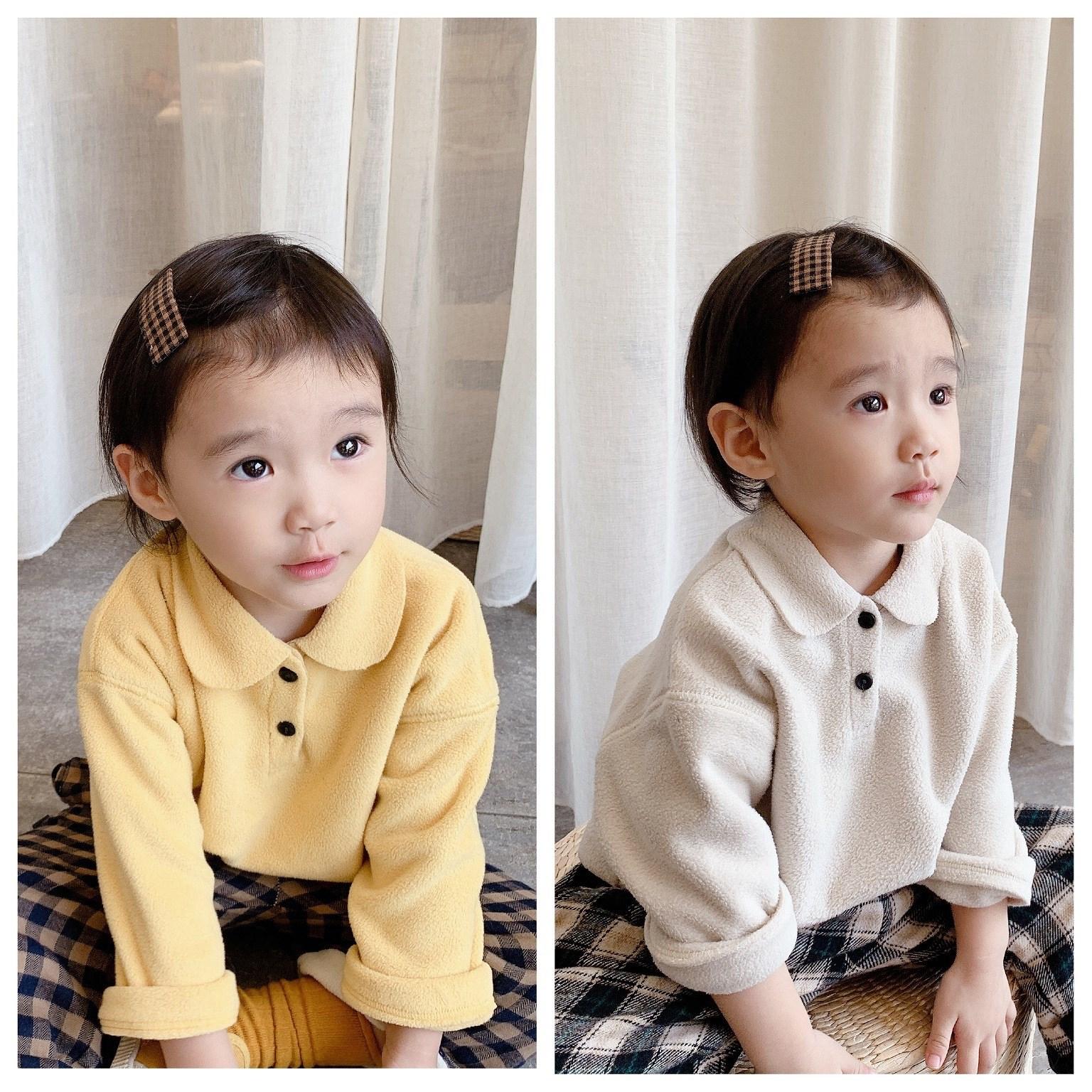 2021童装冬装新款 儿童韩版绒面衬衫女童秋装套头衬衣 20681