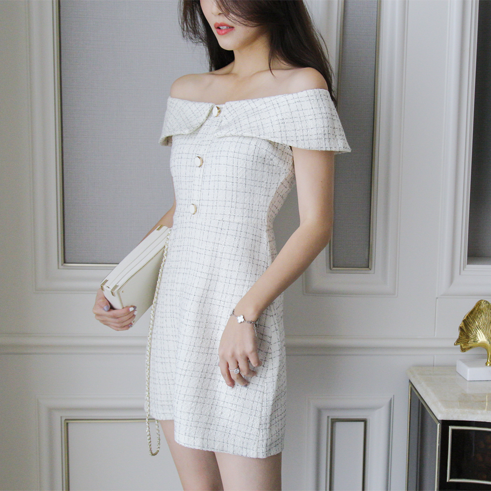Lashell Lai Xiaoxiao Plaid shoulder dress 2019 new summer dress super fairy 2019 popular and sweet