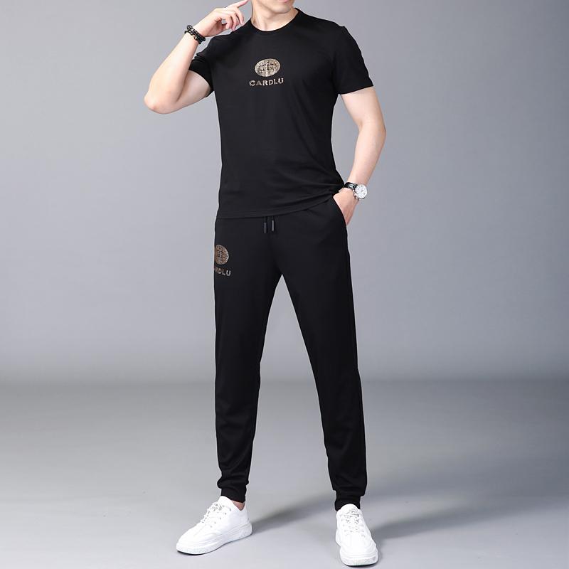 2020夏季短袖套装男 夏季潮流百搭休闲嘻哈短袖t恤运动服薄两件套