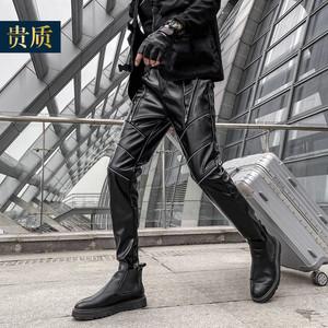 男士皮裤修身小脚裤韩版个性休闲男装PU裤子紧身舞台摩托车机车裤