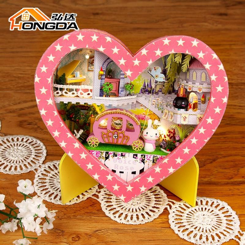 弘达diy小屋手工创意盒子剧场小房子模型浪漫时光拼装玩具礼物女