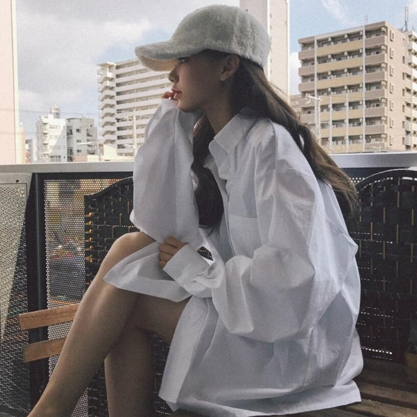 chic早秋衬衫女2018新款女装韩版社会慵懒上衣网红宽松衬衣外套潮