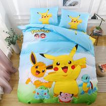 皮卡丘纯棉四件套儿童卡通上下床铺三件套精灵宝可梦床单床上用品