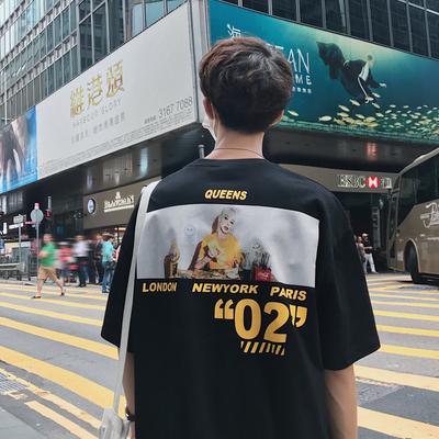 2019夏季新品ins韩版印花Tee全棉短袖T恤打底衫男H005-P40 控价55