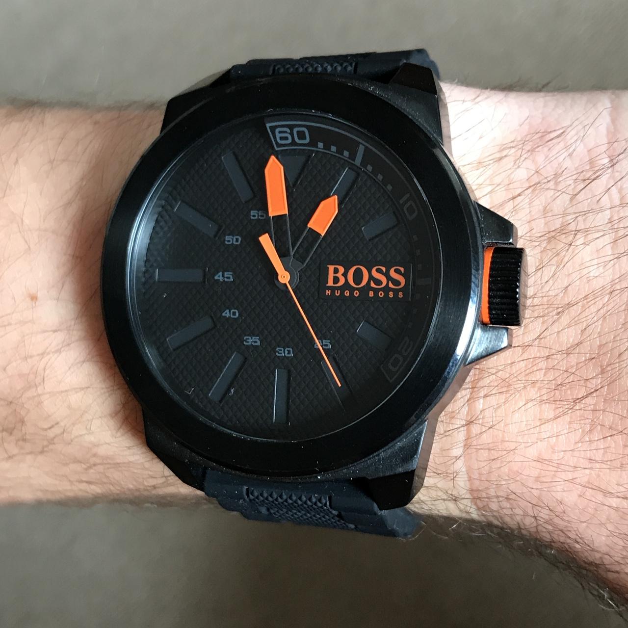 Buy genuine Hugo Boss mens watch orange pointer black silicon tape fashion quartz watch 1513004