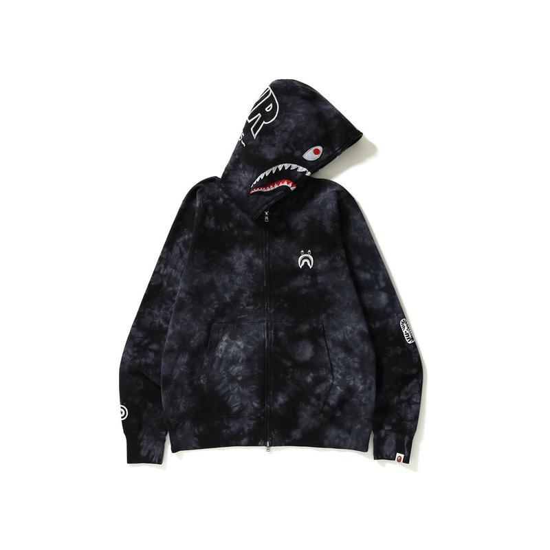 Global purchase bape mens tie dyed shark Black Full Zip loose hooded cardigan coat Hoodie black