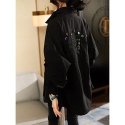 素木黑色钉钻宽松工装外套女2020秋季新款刺绣欧洲站显瘦夹克上衣
