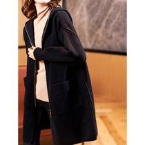 素木黑色拼接毛呢外套2021年新款欧货大码女装气质显瘦中长款大衣
