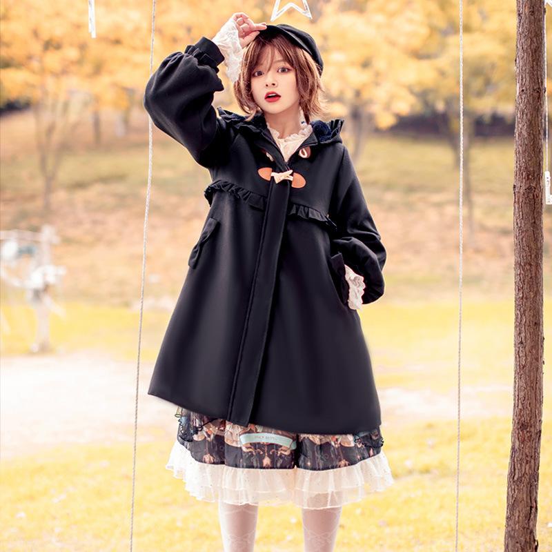 Stock [original genuine] Kitty Lolita coat woolen coat Lolita Plush thickened winter new