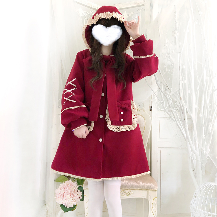 Snowy little red hat Lolita Plush thickened hoodie coat New Year red Lolita keep warm in winter