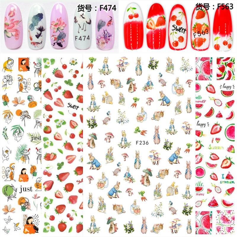 可撕防水背胶斑马中性笔美甲贴纸彼得兔夏威夷风草莓西瓜古风锦鲤