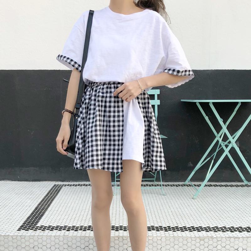 Корейская версия Женский колледж Ветер клетчатый сращивание фасон средней длины стиль Платье футболки + со шнурками Студенты юбки два наборы