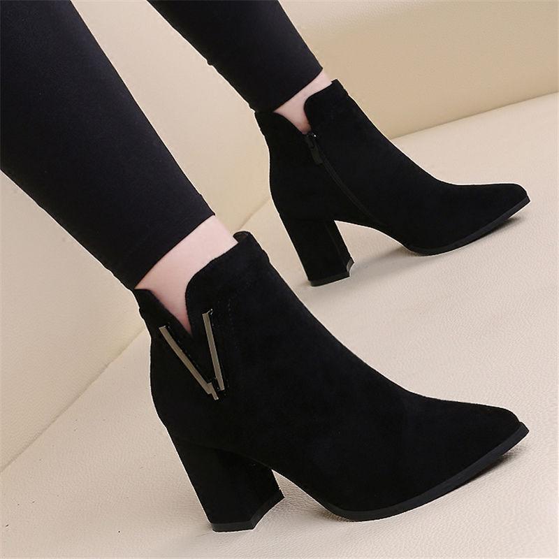 08靴子女短靴女高跟鞋女粗跟秋冬新款韩版女学生加绒尖头时装靴