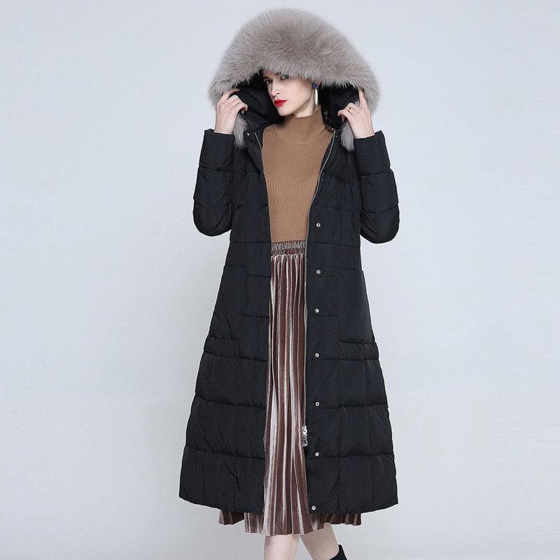 斯尔丽羽绒服女冬款韩版修身中长款过膝超大真狐狸毛领外套8228