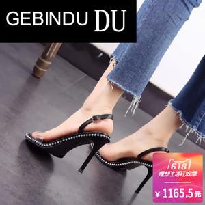 GEBINDU鞋高跟鞋透明带凉鞋女凉鞋粗跟g带露扣细跟鞋凉鞋女小白鞋图片