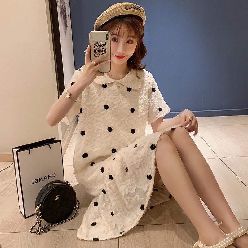 實拍2020夏季新款韓版孕婦裝小清新花邊領提花刺繡雪紡連衣裙