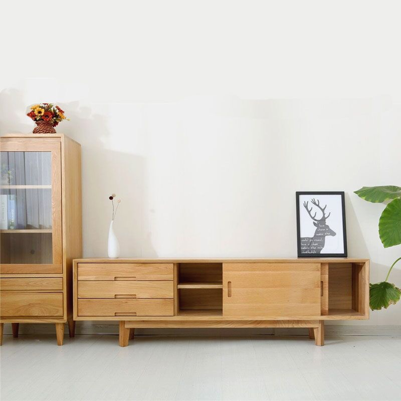 北欧风格全实木电视柜茶几组合客厅日式原木色白橡木简约电视机柜